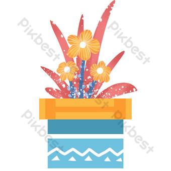 maceta de combinación de flor amarilla de hoja roja Elementos graficos Modelo PSD