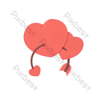 flecha roja del corazón del amor a través de la ilustración del corazón Elementos graficos Modelo PSD