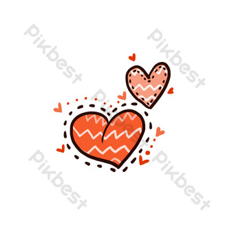الحب الأحمر القلب الأسود خط منقط الديكور صور PNG قالب PSD