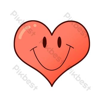 sonrisa de dibujos animados de corazón de amor rojo Elementos graficos Modelo PSD