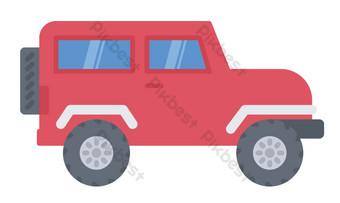 ilustrasi mobil off road merah Elemen Grafis Templat PSD