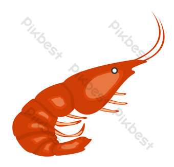 Red sea creature shrimp PNG Images Template PSD