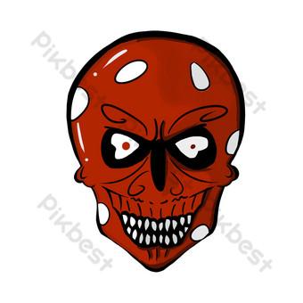 máscara de dibujos animados de calavera roja Elementos graficos Modelo PSD