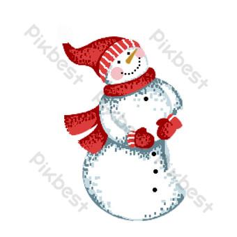 muñeco de nieve de navidad rojo sonriente elementos comerciales de diseño pixelado Elementos graficos Modelo PSD