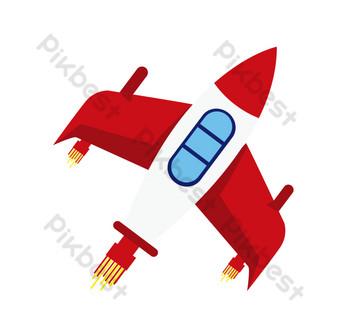 ilustración del día espacial de la nave espacial roja Elementos graficos Modelo PSD