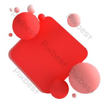 borde de fondo cuadrado rojo Elementos graficos Modelo C4D