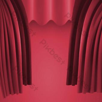 紅色舞台幕布 元素 模板 PSD