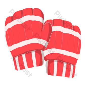 ilustración de guantes de boxeo rojo blanco Elementos graficos Modelo PSD