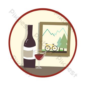 icono de vino tinto Elementos graficos Modelo PSD