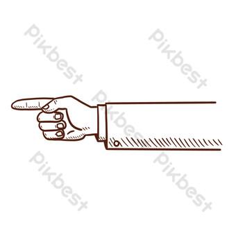 lineart de dedo retro Elementos graficos Modelo PSD
