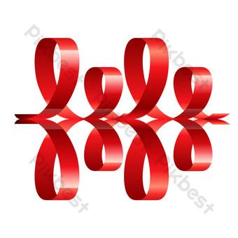 cinta doblada roja retro Elementos graficos Modelo PSD