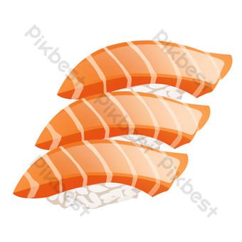 arroz pintado a mano cocina sashimi salmón psd fondo transparente Elementos graficos Modelo PSD