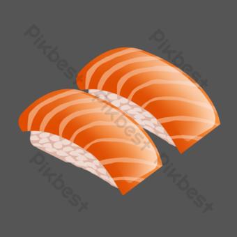 arroz pintado a mano salmón psd fondo transparente Elementos graficos Modelo PSD