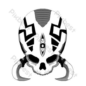 ilustración de cráneo de patrón redondo Elementos graficos Modelo PSD