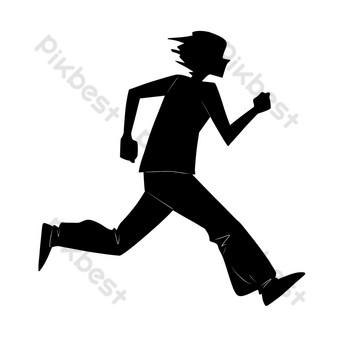 silueta de hombre corriendo Elementos graficos Modelo PSD