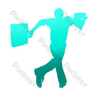 hombre corriendo con maletín y ropa Elementos graficos Modelo PSD