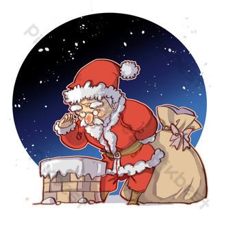 santa claus navidad chimenea da regalos Elementos graficos Modelo PSD