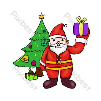 santa claus entregando regalos dibujados a mano ilustración Elementos graficos Modelo PSD