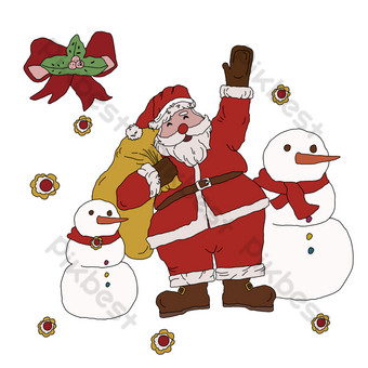santa claus regalo muñeco de nieve nochebuena png linda bendición Elementos graficos Modelo PSD