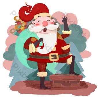 رواية سانتا كلوز ملفوفة شجرة عيد الميلاد مدخنة png صور PNG قالب PSD