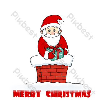 santa claus en navidad chimenea de dibujos animados dibujados a mano Elementos graficos Modelo PSD