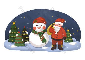 muñeco de nieve de santa claus y árbol de navidad en la noche de navidad Elementos graficos Modelo PSD