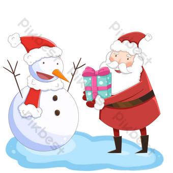 muñeco de nieve de santa claus da regalos en invierno Elementos graficos Modelo PSD