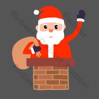 santa sube la chimenea para navidad Elementos graficos Modelo PSD