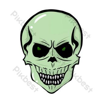 máscara de dibujos animados de calavera de miedo Elementos graficos Modelo PSD