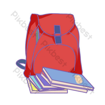 開學季紅色書包書本文具 元素 模板 PSD