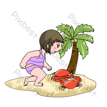 Sea crab girl illustration PNG Images Template PSD