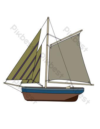 Sea sailing decoration illustration PNG Images Template PSD
