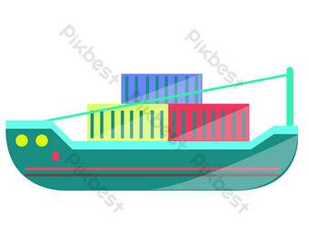 Sea transport container PNG Images Template PSD