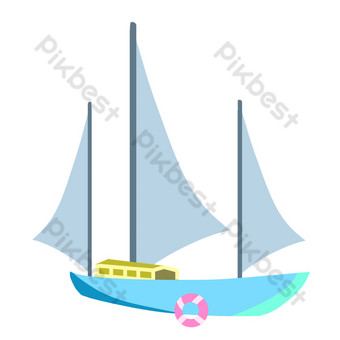 Sea transport sailboat PNG Images Template PSD