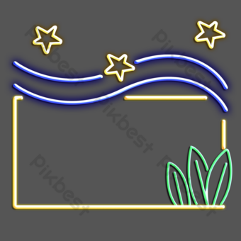 Sea wave stars neon sign PNG Images Template PSD