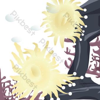 ilustración de algas marinas estrellas de mar Elementos graficos Modelo PSD