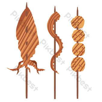 Seafood barbecue skewers illustration PNG Images Template PSD