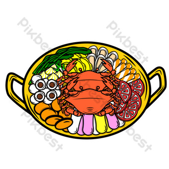 Seafood Force Hot Pot PNG Images Template AI