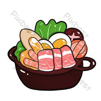 seafood gourmet hot pot cartoon design PNG Images Template PSD