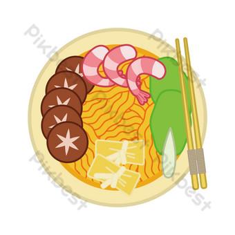 Seafood ramen cartoon illustration PNG Images Template PSD