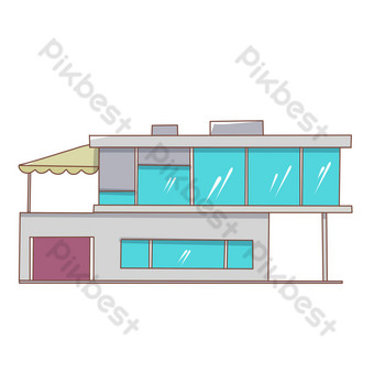 Seascape glass house illustration PNG Images Template PSD