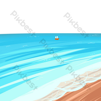 Seaside, wave, sandy beach PNG Images Template PSD