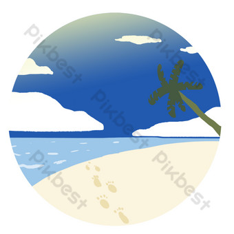 Seaside beach summer island simple coconut tree PNG Images Template PSD