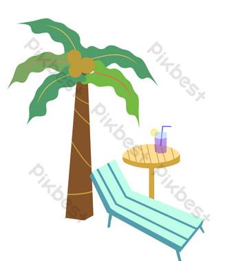 Seaside beach trip PNG Images Template PSD