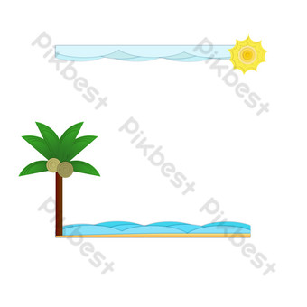 Seaside coconut tree border PNG Images Template AI