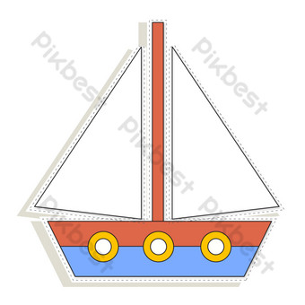 Seaside holiday sailboat decoration PNG Images Template AI