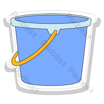 Seaside holiday travel bucket decoration PNG Images Template AI