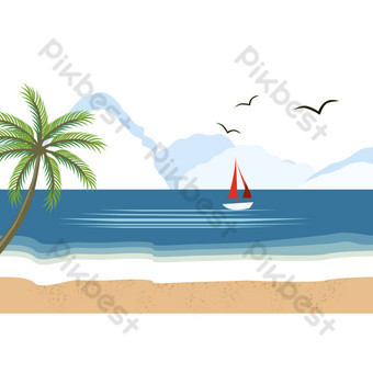 Seaside landscape coconut tree PNG Images Template PSD