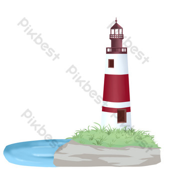 Seaside lighthouse PNG Images Template PSD