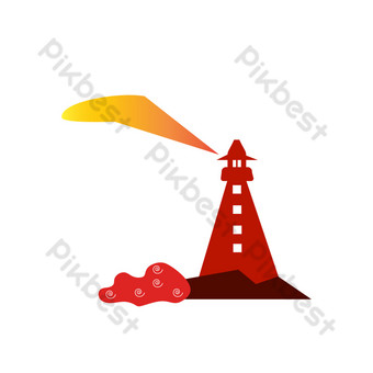 Seaside lighthouse PNG Images Template AI